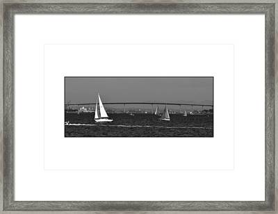 Framed Print featuring the digital art San Diego Bay Sailing 2 by Kirt Tisdale
