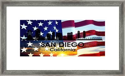 San Diego Ca Patriotic Large Cityscape Framed Print