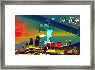 San Diego California Map And Skyline Framed Print