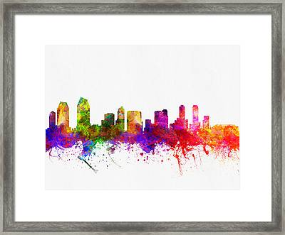 San Diego California Skyline 02 Framed Print