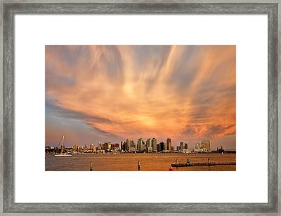 San Diego Cloud Burst Framed Print by Peter Tellone