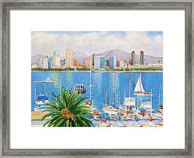 San Diego Skyline Framed Print by Mary Helmreich