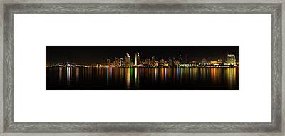 San Diego Harbor Panorama Framed Print by David Toussaint