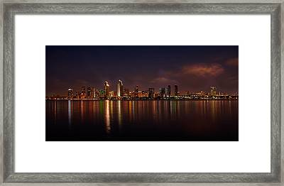 San Diego Night Skyline Framed Print by Peter Tellone