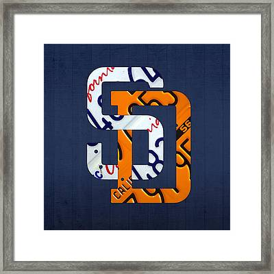 San Diego Padres Baseball Team Vintage Logo Recycled California License Plate Art Framed Print by Design Turnpike
