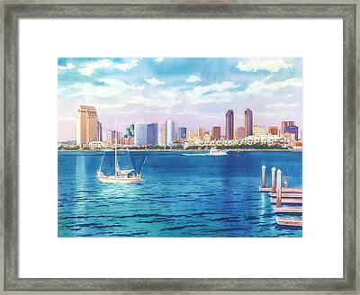 San Diego Skyline And Convention Ctr Framed Print by Mary Helmreich