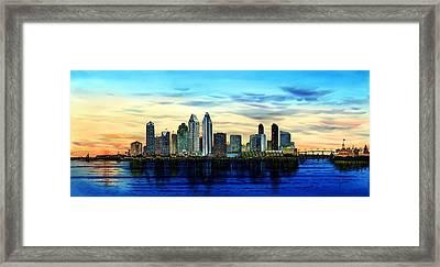 San Diego Skyline And Coronado At Dusk U.s.a Framed Print