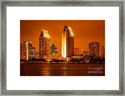 San Diego Skyline At Night Along San Diego Bay Framed Print