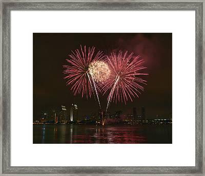 San Diego Skyline Fireworks Framed Print