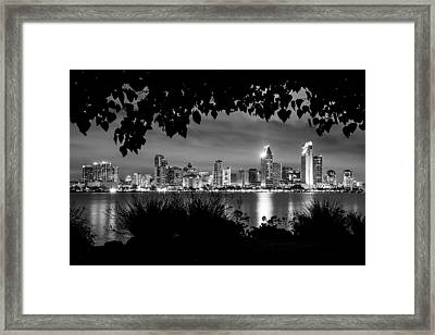 San Diego Skyline Framed 2 Black And White Framed Print