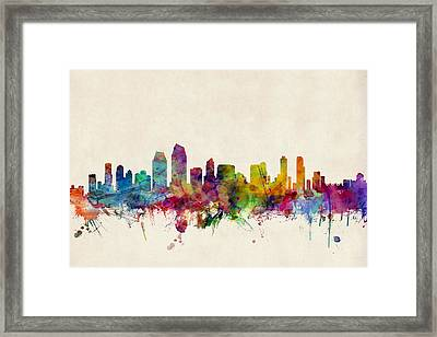 San Diego Skyline Framed Print by Michael Tompsett