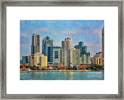 Framed Print featuring the photograph San Diego Skyline by Peggy Hughes