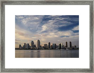 Framed Print featuring the photograph San Diego Skyline Sunset 1 by Lee Kirchhevel
