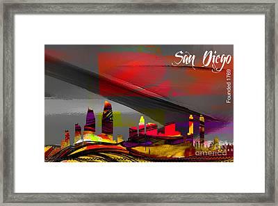 San Diego Skyline Watercolor Framed Print by Marvin Blaine