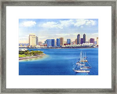 San Diego Skyline With Meridien Framed Print by Mary Helmreich