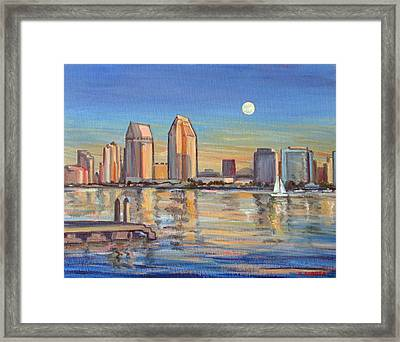 San Diego Skyline With Moonrise Framed Print by Robert Gerdes