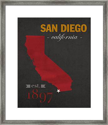 San Diego State University California Aztecs College Town State Map Poster Series No 093 Framed Print by Design Turnpike
