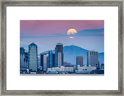 San Diego Super Moonrise - San Diego Skyline Photograph Framed Print by Duane Miller