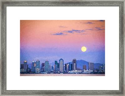 San Diego Supermoon - Digital Photo Art Framed Print by Duane Miller