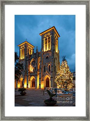 San Fernando Cathedral And Christmas Tree Main Plaza - San Antonio Texas Framed Print