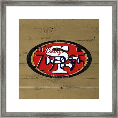 San Francisco 49ers Football Team Retro Logo California License Plate Art Framed Print