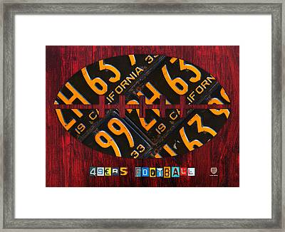 San Francisco 49ers Nfl Football Recycled License Plate Art Framed Print by Design Turnpike