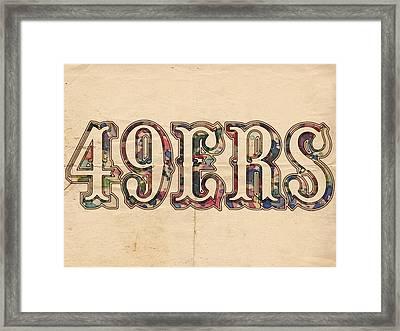 San Francisco 49ers Vintage Logo Framed Print by Florian Rodarte