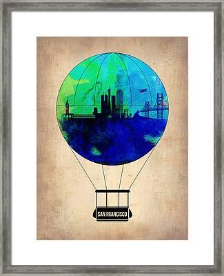 San Francisco Air Balloon Framed Print by Naxart Studio