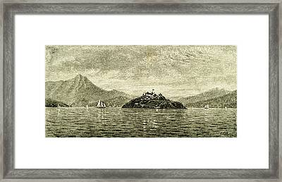San Francisco Bay And Alcatraz Island 1891 Usa Framed Print by English School