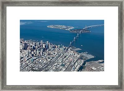 San Francisco Bay Bridge Aerial Photograph Framed Print by John Daly