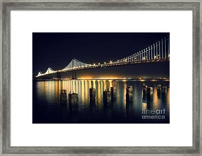 San Francisco Bay Bridge Illuminated Framed Print by Jennifer Ramirez