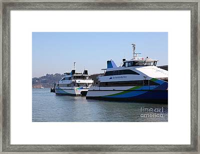San Francisco Bay Ferry Boat At Pier 39 San Francisco California 5d25932 Framed Print by Wingsdomain Art and Photography