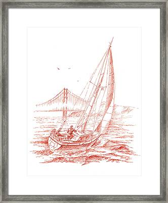 San Francisco Bay Sailing To Golden Gate Bridge Framed Print