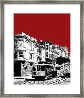 San Francisco Cable Car 2 - Dk Red Framed Print