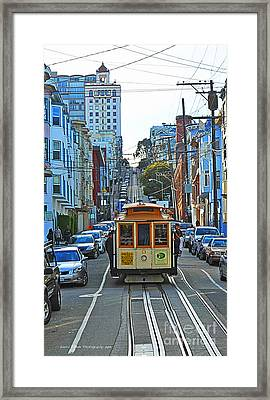 San Francisco Cable Car To Powell And Market Streets Framed Print by Artist and Photographer Laura Wrede