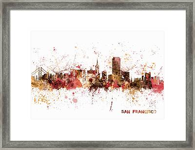 San Francisco California City Skyline Framed Print by Michael Tompsett