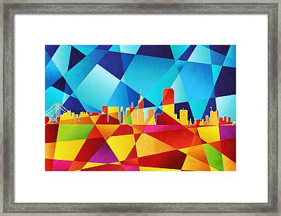 San Francisco California Skyline Framed Print by Michael Tompsett