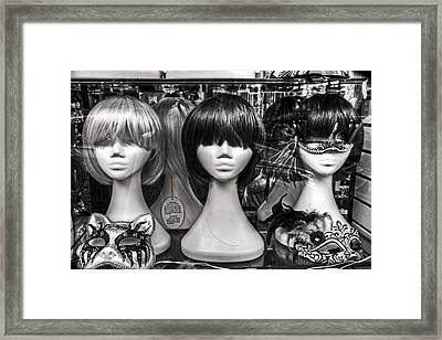San Francisco Chinatown Window Display Mannequin Heads Framed Print by Jennifer Rondinelli Reilly - Fine Art Photography