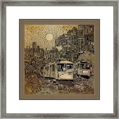 San Francisco Cityscape Vintage Framed Print by Bekim Art