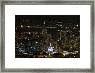 San Francisco Cityscape With City Hall At Night Framed Print by David Gn