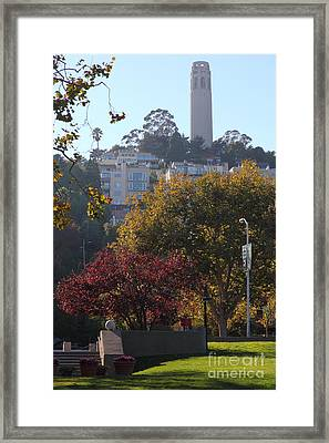 San Francisco Coit Tower At Levis Plaza 5d26216 Framed Print by Wingsdomain Art and Photography