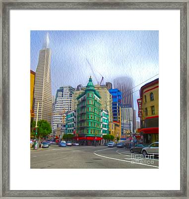 San Francisco - Columbus Street Framed Print by Gregory Dyer