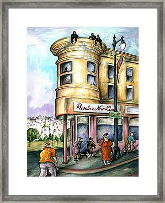 San Francisco North Beach - Watercolor Art Framed Print by Art America Gallery Peter Potter
