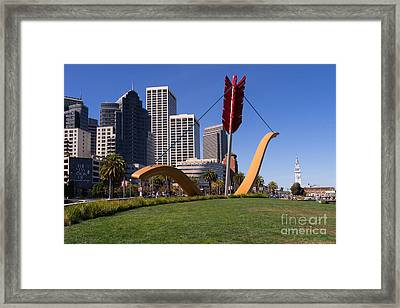 San Francisco Cupids Span Sculpture At Rincon Park On The Embarcadero And Dsc1830 Framed Print by Wingsdomain Art and Photography