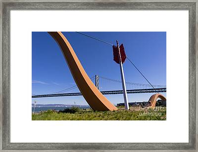 San Francisco Cupids Span Sculpture At Rincon Park On The Embarcadero Dsc1813 Framed Print by Wingsdomain Art and Photography