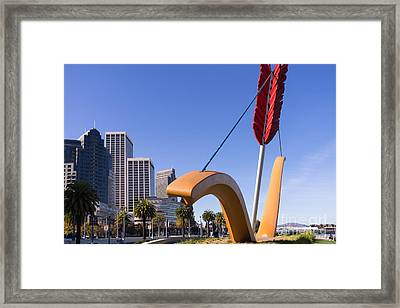 San Francisco Cupids Span Sculpture At Rincon Park On The Embarcadero Dsc1929 Framed Print by Wingsdomain Art and Photography