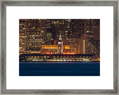 San Francisco Ferry Building At Night.  Framed Print