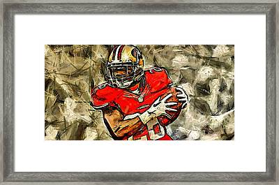 San Francisco Football Player Framed Print by Carrie OBrien Sibley