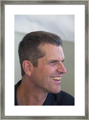 San Francisco Forty Niners Coach Jim Harbaugh Framed Print by Scott Lenhart