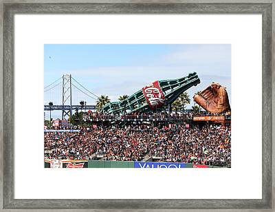 San Francisco Giants Baseball Ballpark Fan Lot Giant Glove And Bottle 5d28246 Framed Print